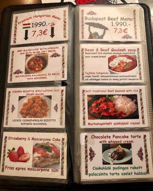 menu restaurante húngaro em budapeste