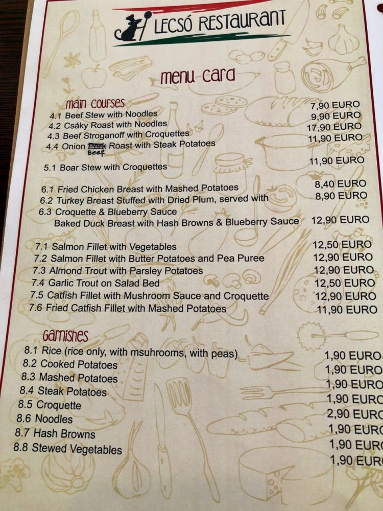 menu restaurante rothenburg