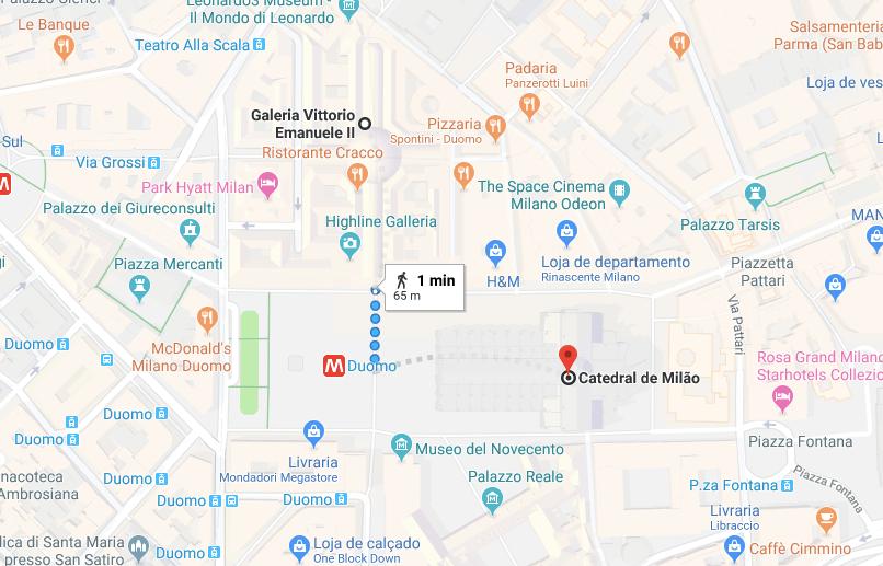 mapa duomo de Milao