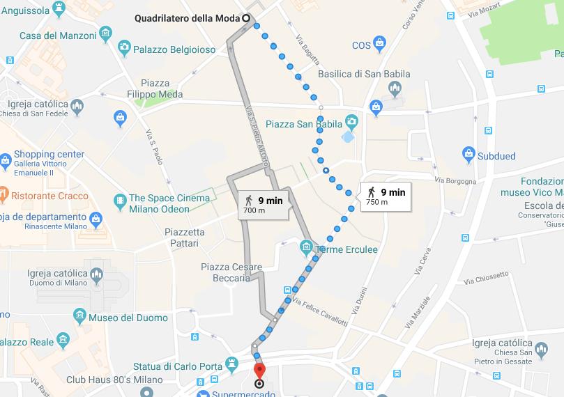 mapa quadrilatero da moda de Milao