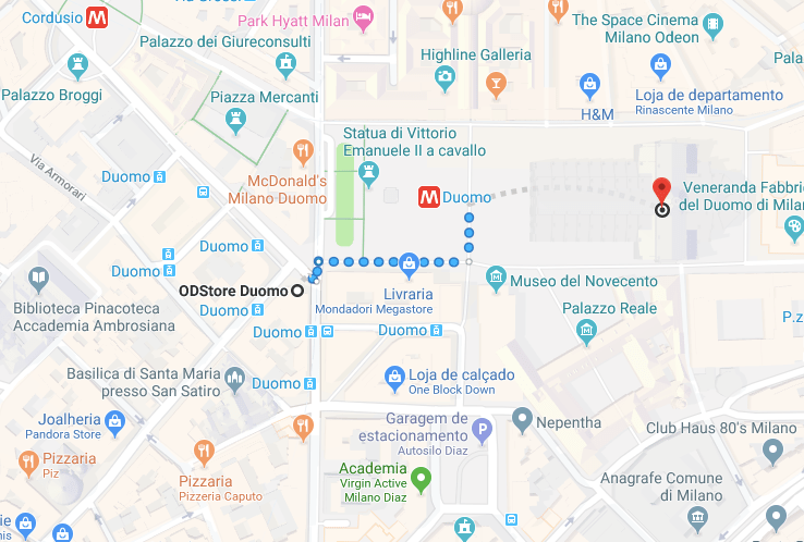 mapa turístico Milao