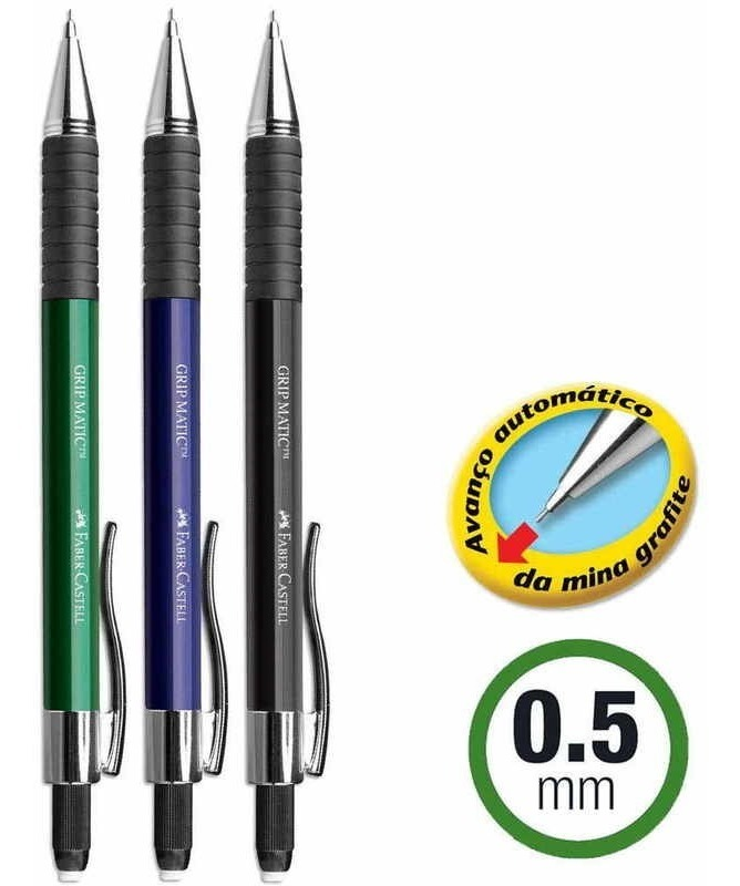 Lapiseira Grip Matic Metal 0.5mm Faber-Castell – 1UN