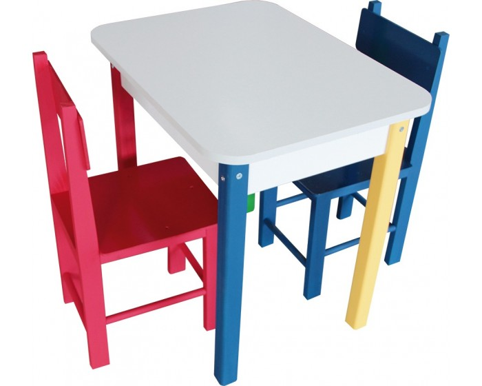 Mesa Retangular Colorida com 2 Cadeiras de Madeira