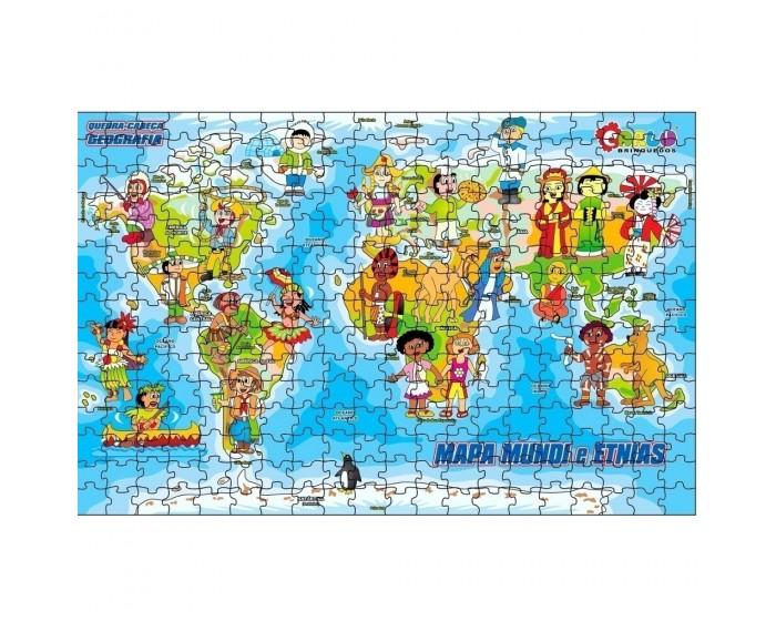 Quebra-Cabeça Geografia Mapa Mundi e Etnias