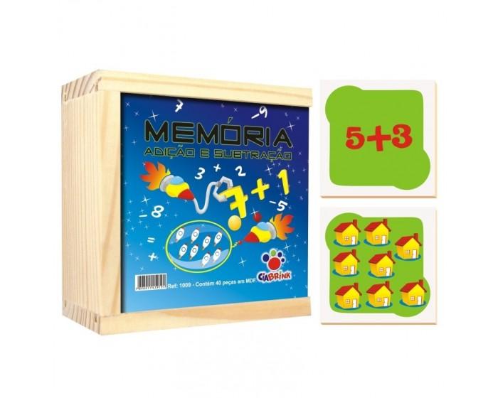 Jogo da Memória Adição e Subtração Caixa em Madeira