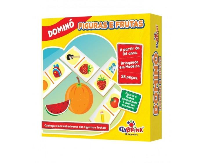 Jogo de Dominó Figuras e Frutas em Caixa Cartonada