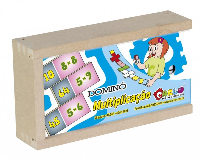 Jogo de Dominó Multiplicação 28 Peças em Mdf