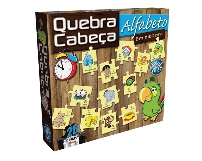Quebra-Cabeça Alfabeto em Madeira 26 peças