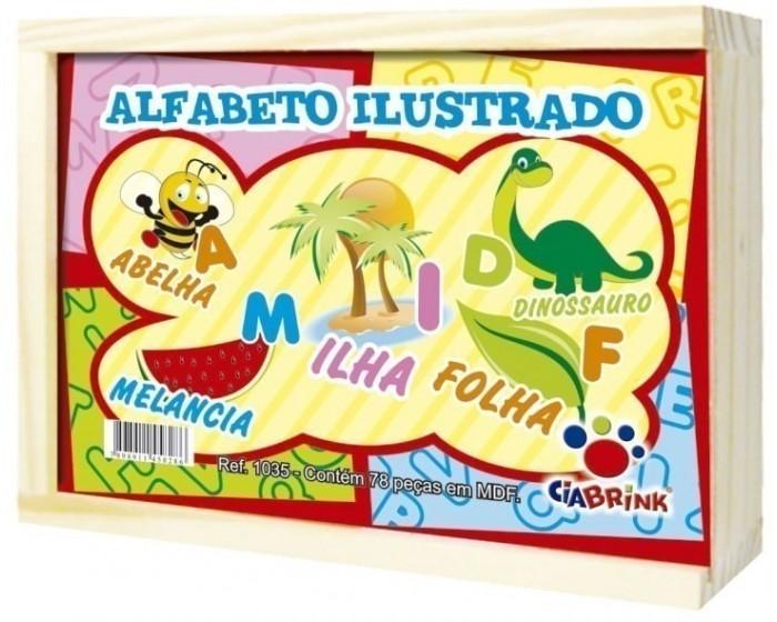 Alfabeto Ilustrado Cx em Madeira