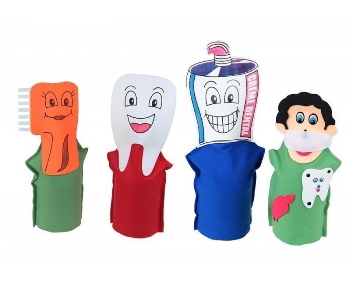 Fantoches Higiene Bucal em Feltro com 4 Personagens