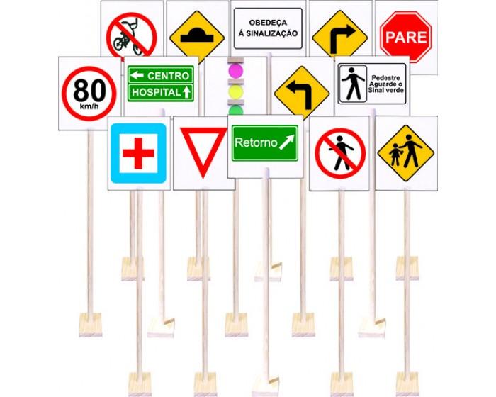Kit Trânsito com 14 Placas em Madeira