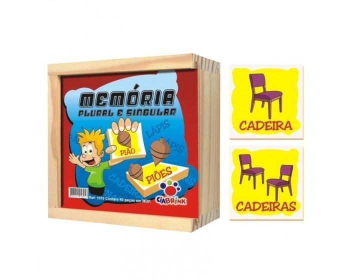 Jogo da Memória Plural e Singular Caixa em Madeira