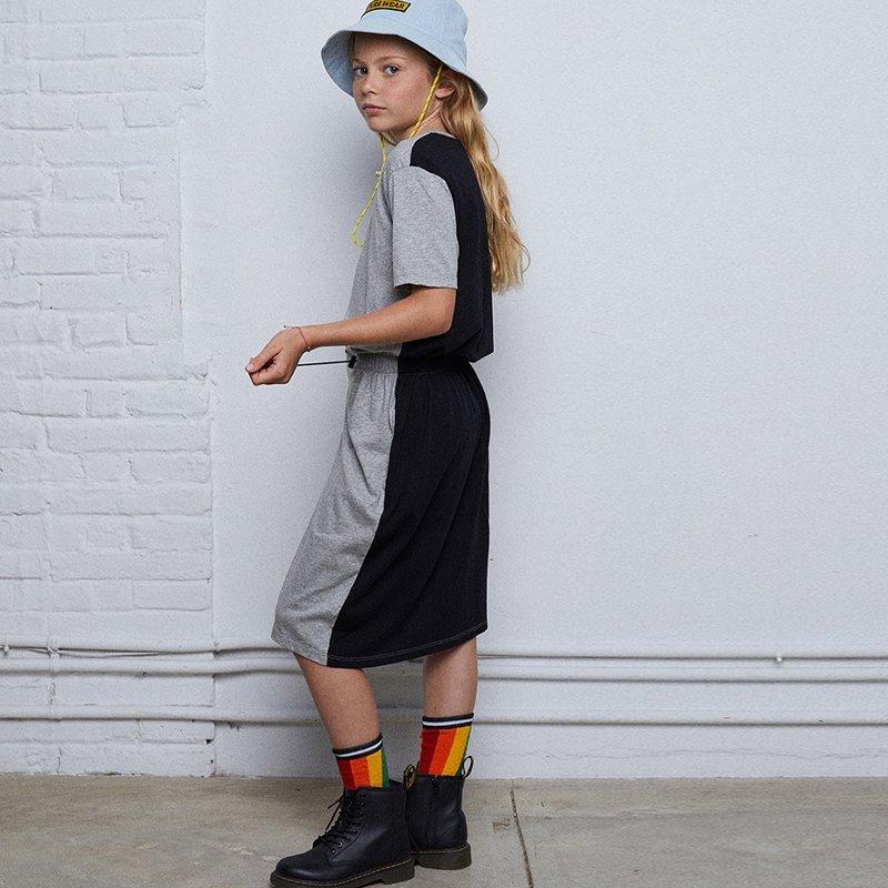 Bicolor Waist Dress Black