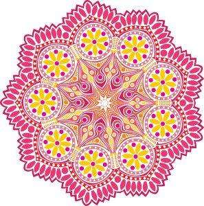 Mandala rosa e amarela