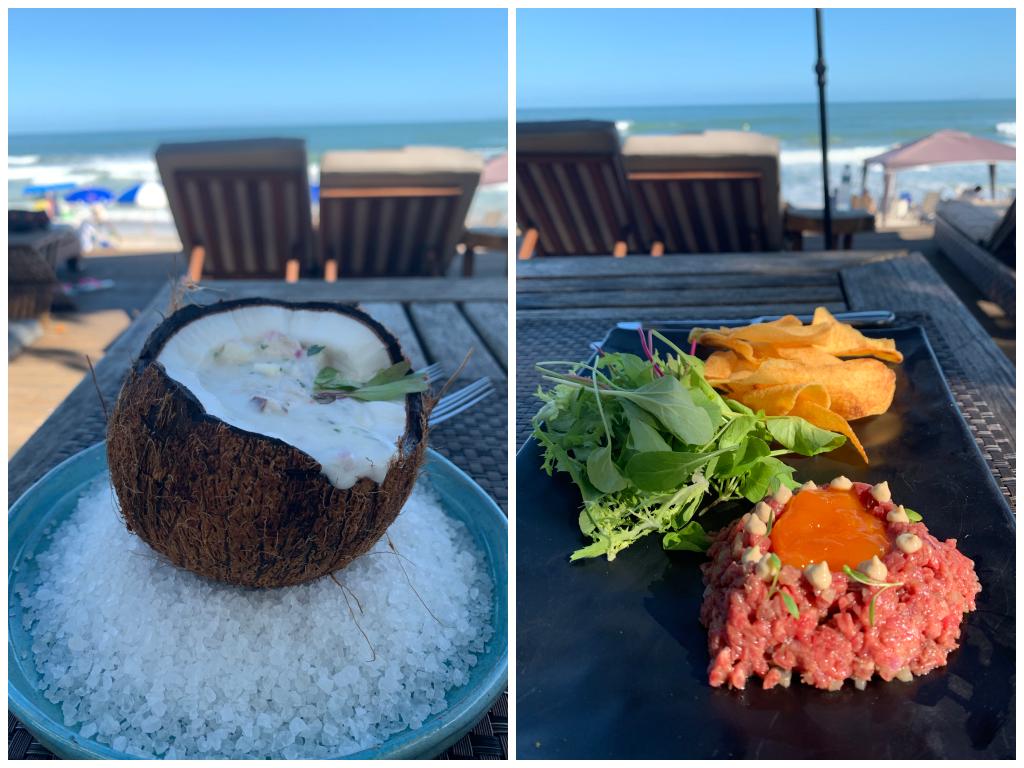 Ceviche de coco e steak tartar do hotel romantico Nau Royal