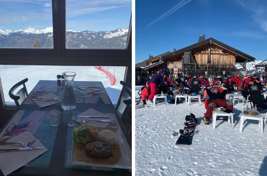 O restaurante depois de esquiar na estação francesa de Samoens