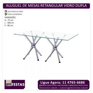 Aluguel Mesa Cromada Cristal Retangular