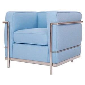 aluguel de poltrona lc1 azul - poltrona le corbusier azul