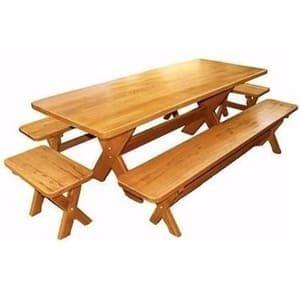 aluguel de mesa e bancos de madeira rústica