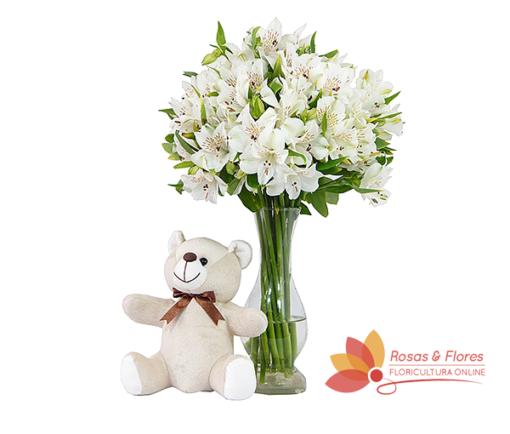 Arranjo de Astromélias Brancas e Pelúcia Floricultura Rosas e Flores RJ