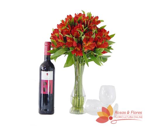 Arranjo de Astromélias e Vinho Floricultura Rosas e Flores RJ