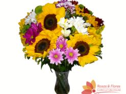 Arranjo de Girassol com Flores do Campo Floricultura Rosas e Flores RJ
