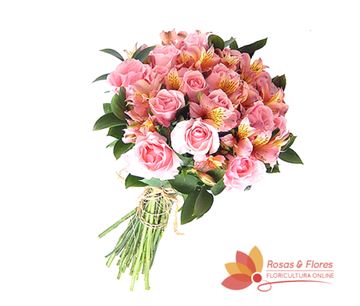 Buquê de Rosas e Astromélias Rosa Floricultura Rosas e Flores RJ