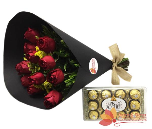 Buque de Rosas vermelhas com Chocolate Ferrero Rocher
