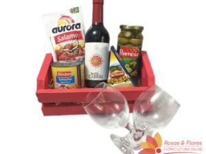 Caixote de Vinho e Aperitivos Floricultura Rosas e Flores RJ