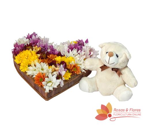 Coração de Flores do Campo e Pelúcia Floricultura Rosas e Flores RJ