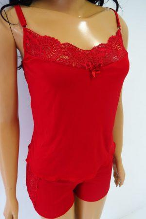 Pijama Babydoll ROSEVIE de liganete – vermelho