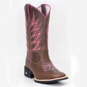 Bota Made in Texas 3003 Pink Neon Cano Tabaco - Flex M.TX 05