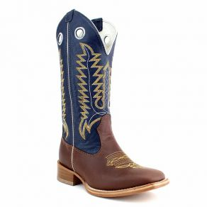 Bota Mr West B-79 BC/AM 1474 Pull Up Brown CA Azul - Couro M.W 82