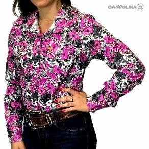 Camisa Mr West Fem. Floral Rosa