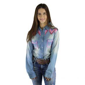 Camisete Miss Country Feminino Jeans Bordado Rubeli
