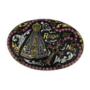 Fivela Sumetal Nossa Senhora Pedra Rose Ref. 7273