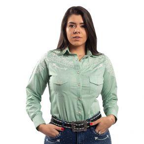 Camisa Miss Country Feminina Arabesco Verde Ref.683