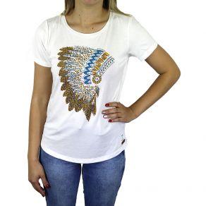 T-Shirt Z.H.W Feminina Cocar Branca