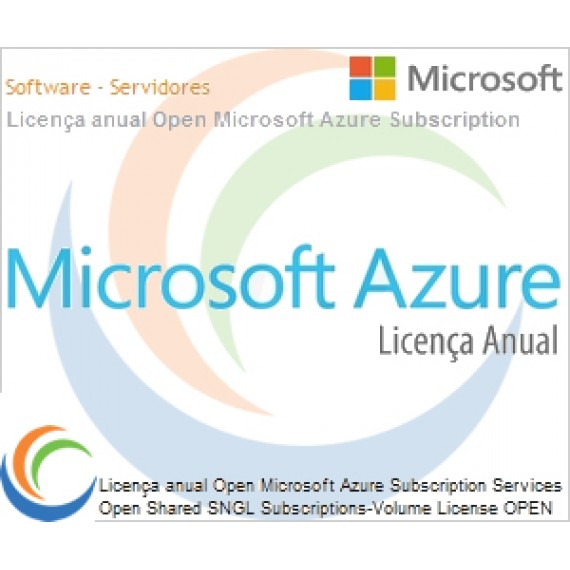 Licença anual Open Microsoft Azure Subscription Services Open Shared SNGL Subscriptions-Volume License OPEN 1 License No Level Qualified [QLFD] Annual