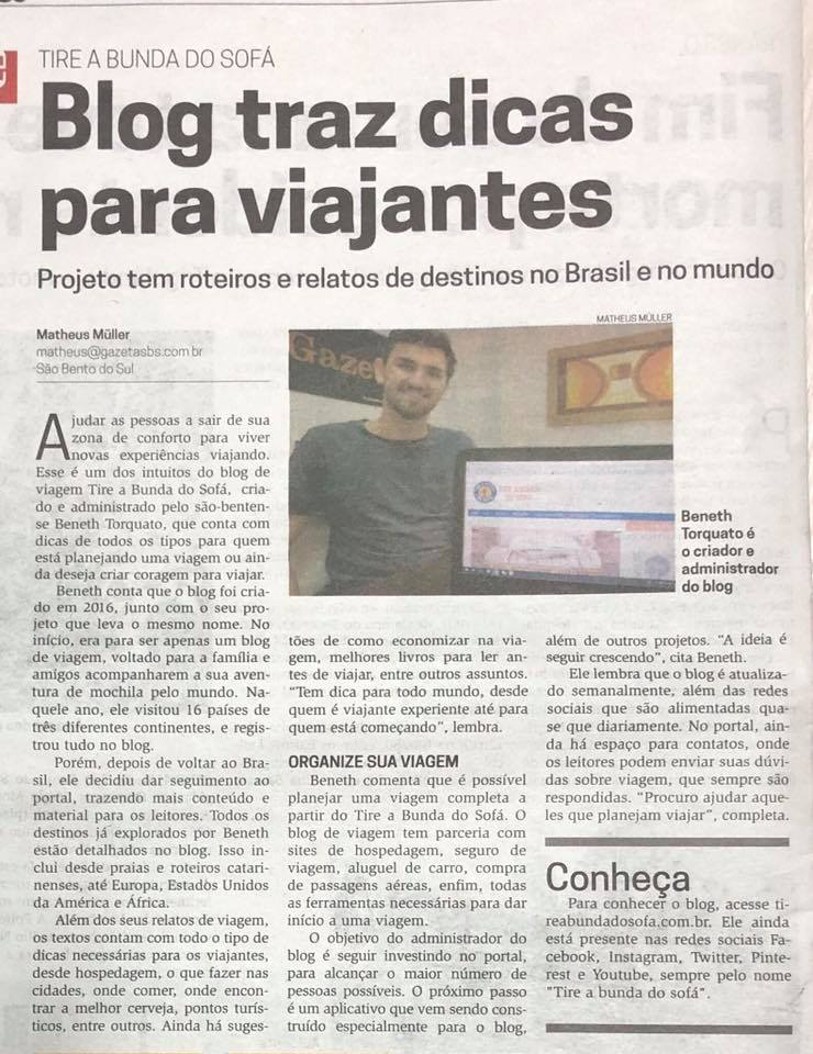 matéria com beneth torquato, autor do blog tire a bunda do sofá