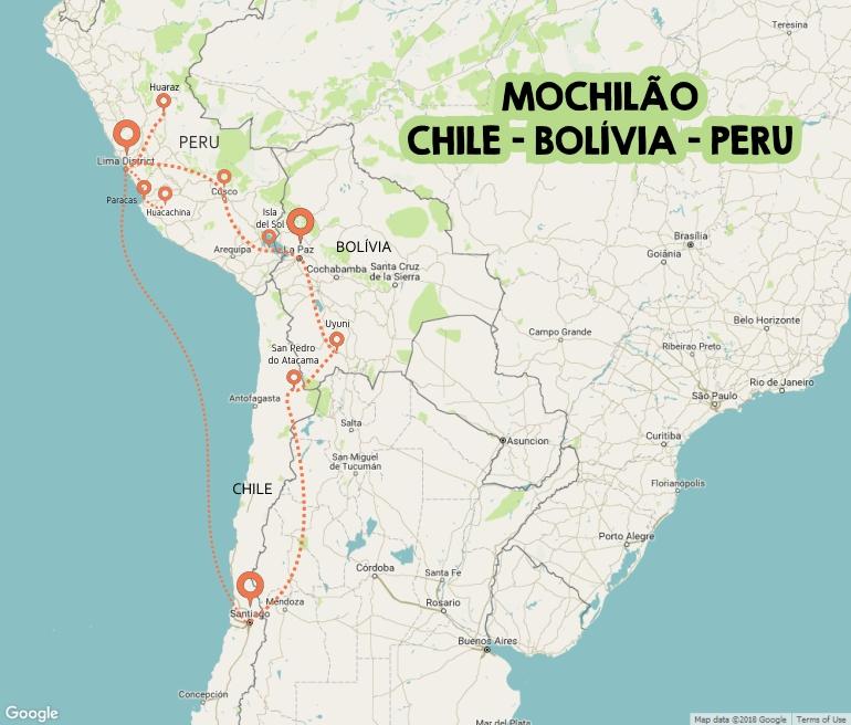 Chile Bolívia Peru - Roteiro Mochilão - Mapa
