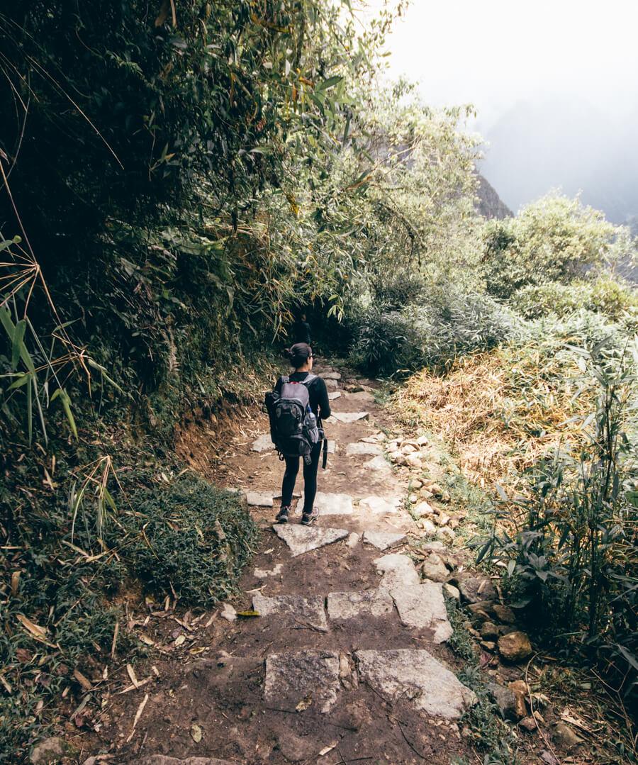 Descendo as escadarias que ligam Águas Calientes a Machu Picchu