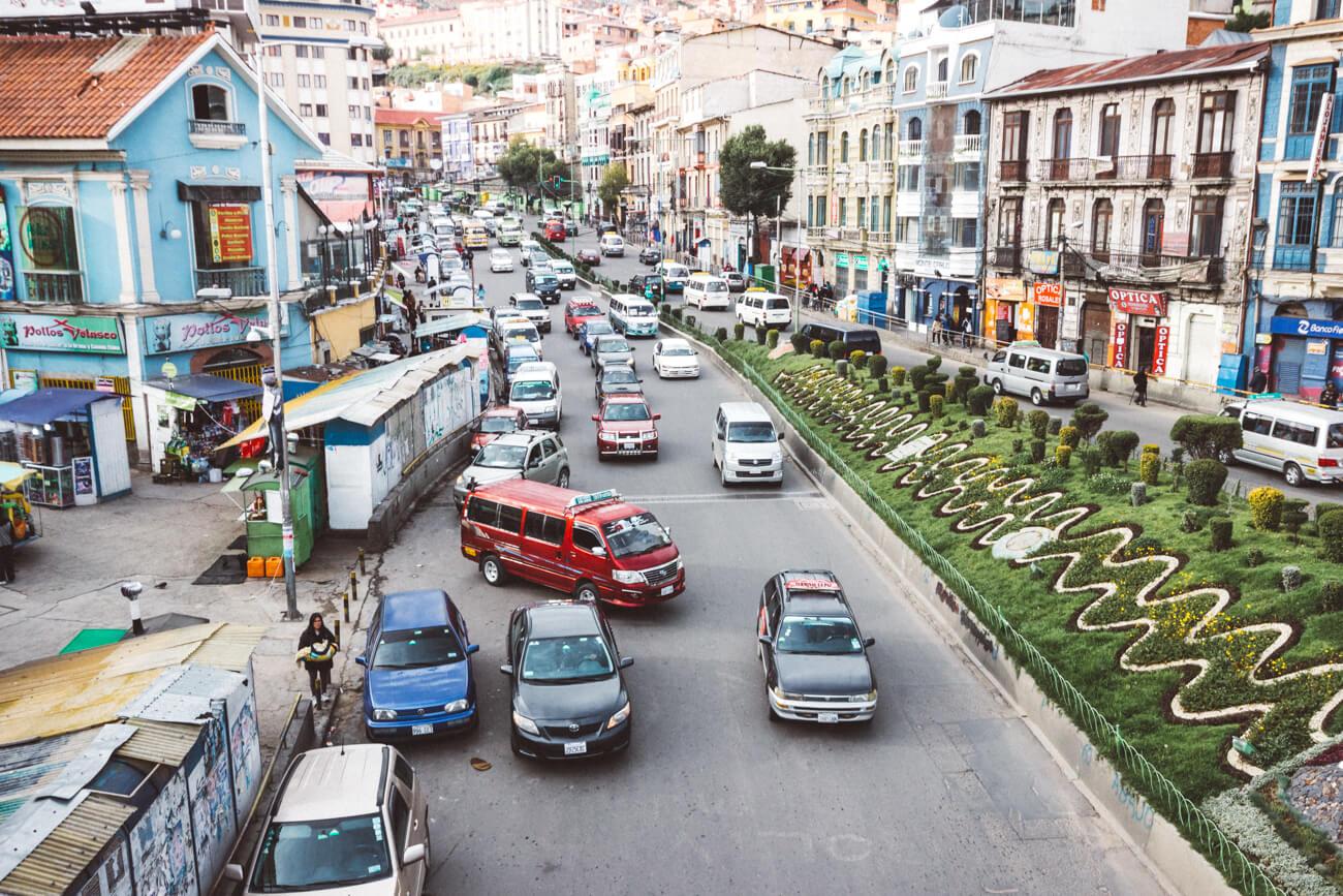 Trânsito maluco de La Paz