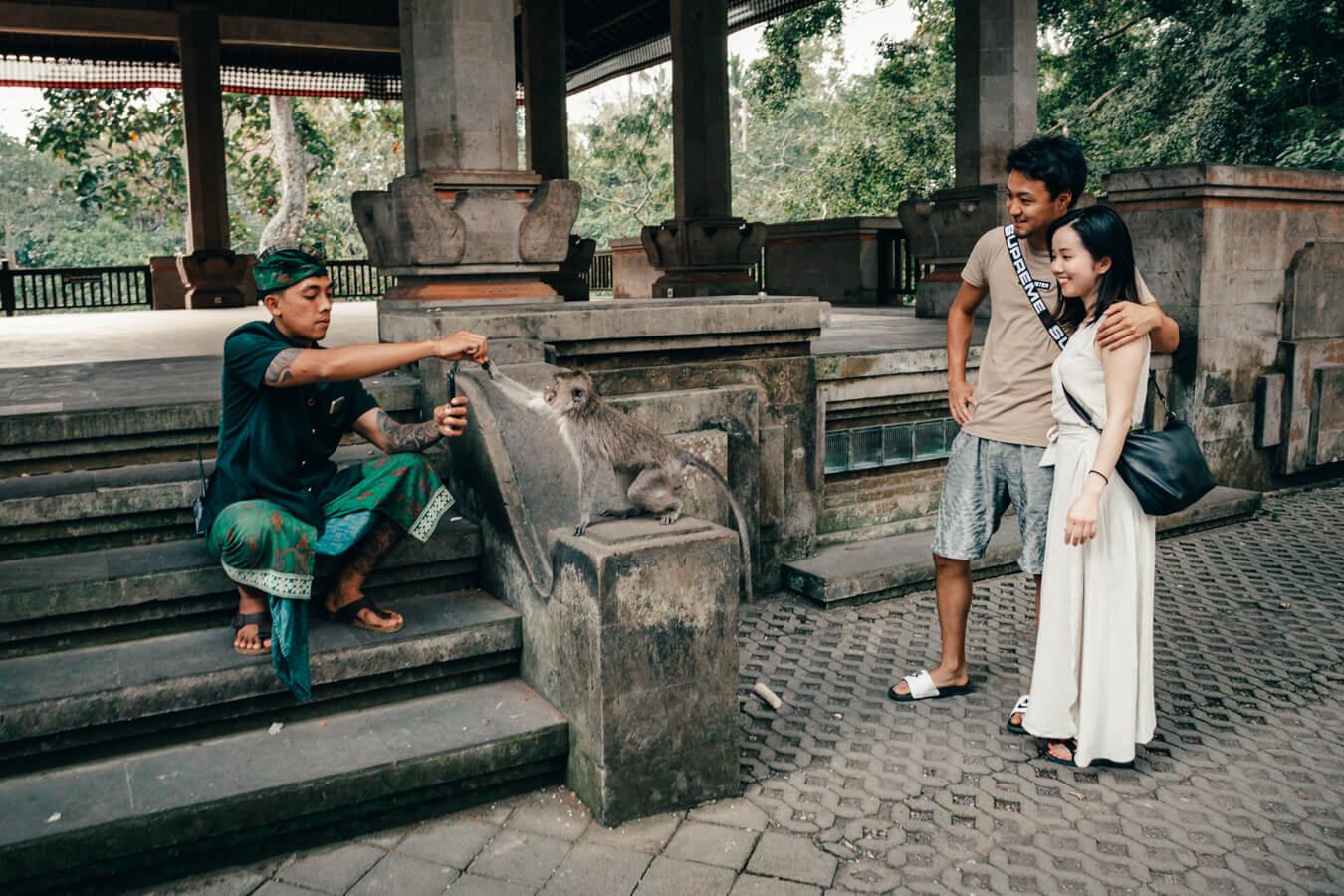Monkey Forest, Ubud, Bali - selfie com macaco