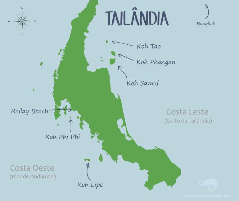 Mapa com as melhores praias da Tailândia | viajando na janela