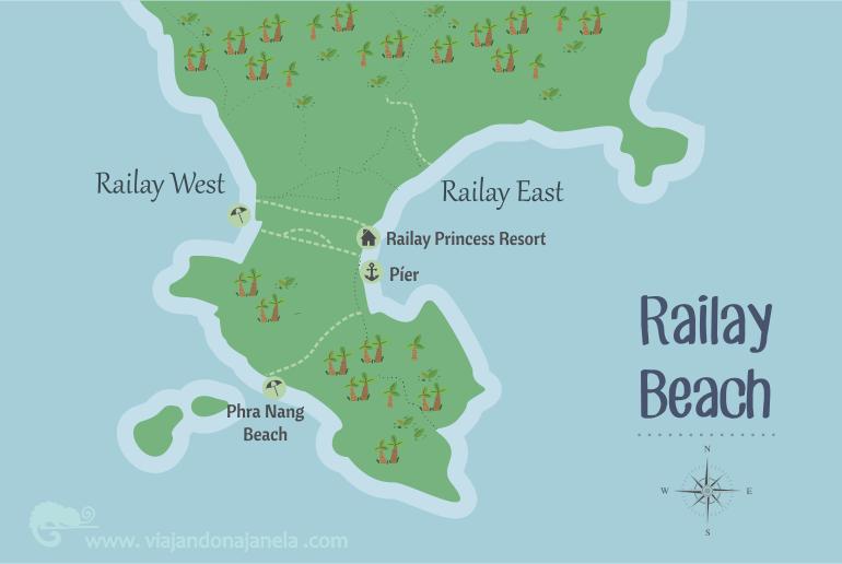 Railay Princess Resort & Spa - mapa de Railay Beach