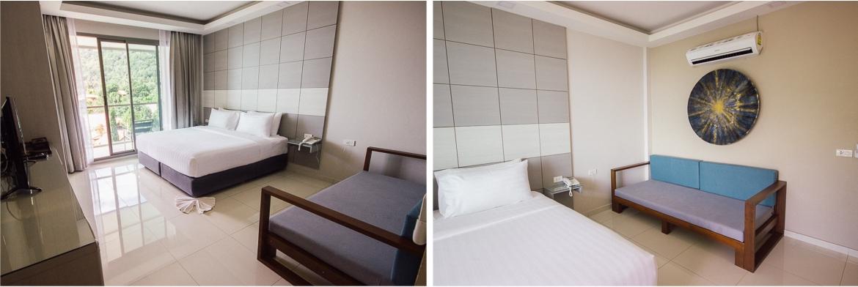 Quarto do hotel Sunset Beach Club em Koh Phangan | Viajando na Janela