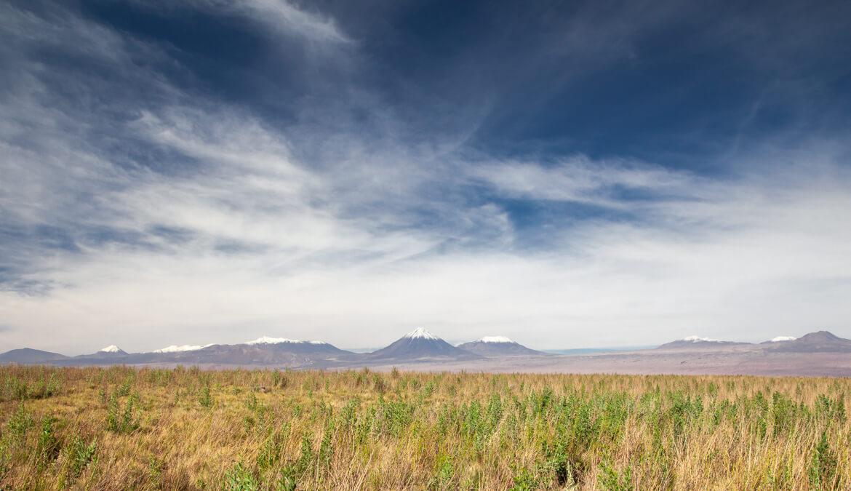 Vulcões Licancabur (maior) e Juriques (do lado esquedo do Licancabur) - Passeio Laguna Cejar