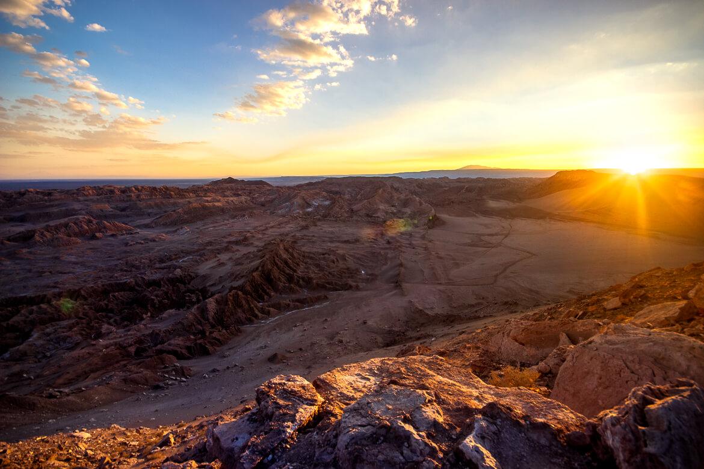 Roteiro no Deserto do Atacama - pôr do sol no Valle de La Muerte