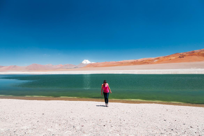 Laguna Diamante e o Cerro Pili ao fundo